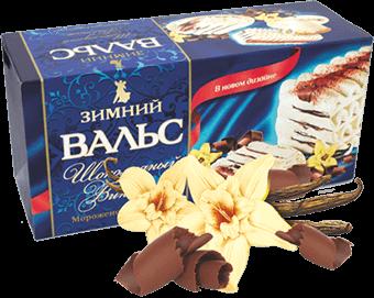 сливочное мороженое-торт с шоколадной глазурью в картонной коробочке