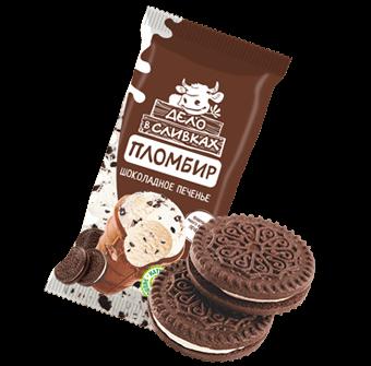 пломбир ванильный с кусочками бисквитного печенья в шоколадном вафельном стаканчике