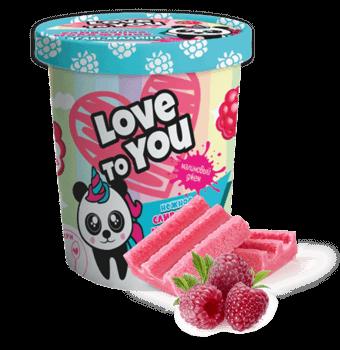 Love to you сливочное мороженое баблгам-малина с малиновым джемом в картонном ведре