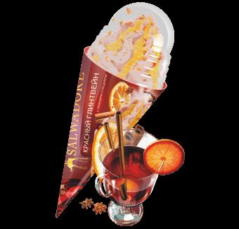 сливочное мороженое красный глинтвейн с яблочным джемом и апельсиновыми цукатами в сахарном рожке