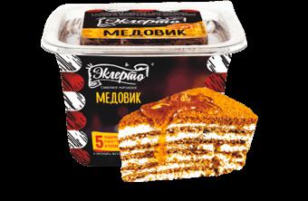 Эклерто Медовик ванильное мороженое с кусочками медового бисквита и варёной сгущёнкой в квадратной креманке с крышечкой