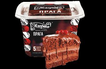 Эклерто Прага Сливочное шоколадное мороженое с кусочками бисквита и шоколадным топингом в квадратной креманке с крышечкой