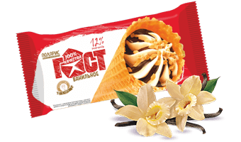 ванильное мороженое с шоколадной глазурью и арахисом в сахарном рожке