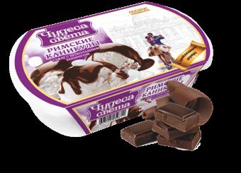 ванильное мороженое с шоколадным топингом и суфле