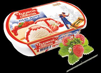 Чудеса света сырное мороженое с кусочками печенья и клубничным джемом
