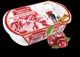 йогуртно-вишневое мороженое с вишневым джемом