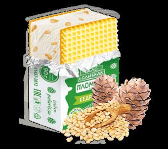 пломбир на кедровом молочке с кедровыми орешками брикет на вафлях в фольге