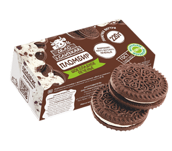 пломбир ванильный с кусочками бисквита в картонной коробочке