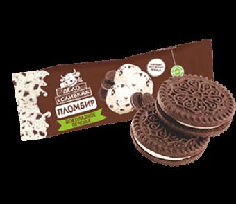 пломбир ванильный с кусочками бисквитного печенья в горизонтальном бумажном пакете