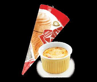 мороженое крем-брюле в сахарном рожке