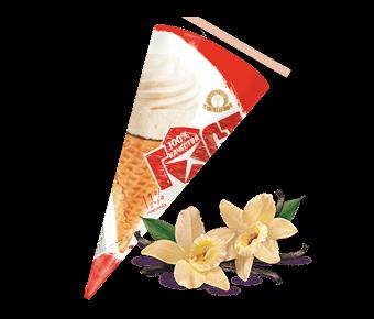 ванильное мороженое в сахарном рожке