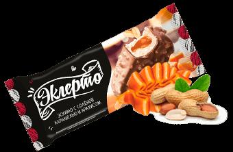 Эклерто Карамель эскимо ванильное с солёной карамелью в шоколадной глазури с арахисом