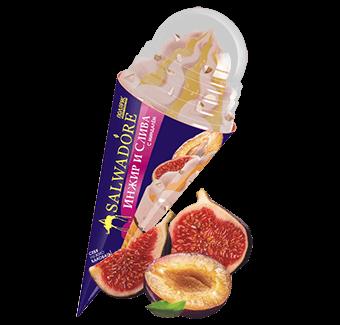 сливочное мороженое с инжиром и сливой, абрикосовым джемом и миндалём в сахарном рожке